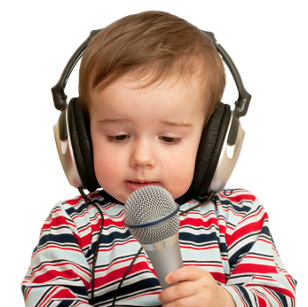 Given a speech toddler with headphones and microphone, closeup
