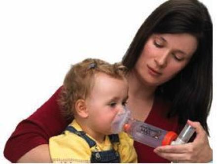 cara pengunaan inhaler (pam) menggunakan corong untuk kanak-kanak kecil yang menghidap asma.